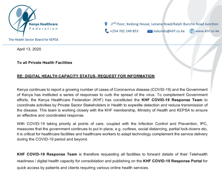Hospital Telehealth Readiness – Request to Facilities