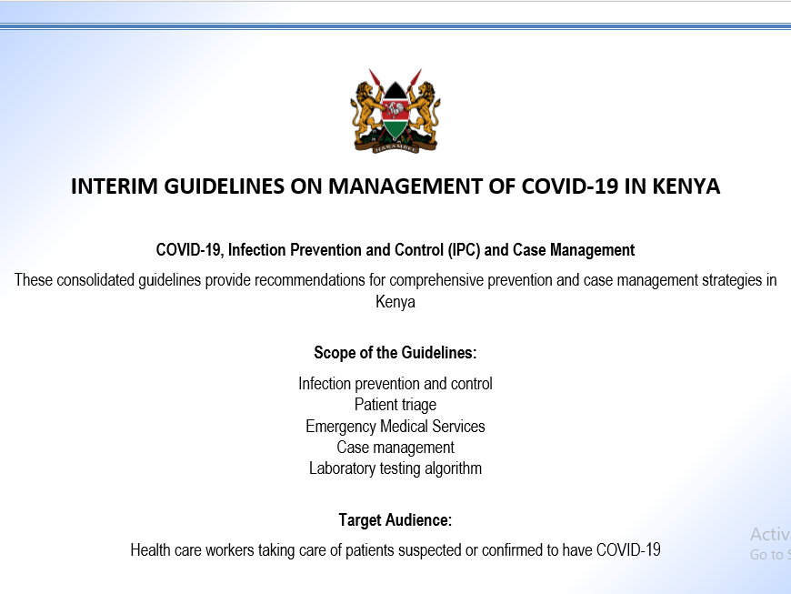 INTERIM GUIDELINES ON MANAGEMENT OF COVID-19 IN KENYA