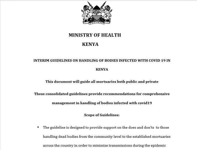 INTERIM GUIDELINES ON HANDLING OF BODIES INFECTED WITH COVID-19 IN KENYA