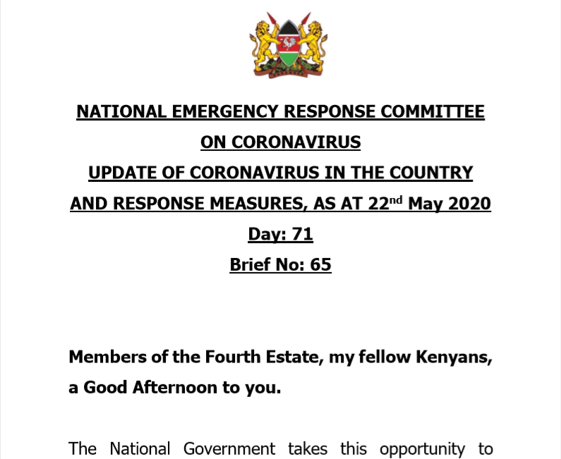 UPDATE OF CORONAVIRUS IN THE COUNTRY AND RESPONSE MEASURES, AS AT 22nd May 2020