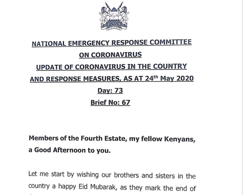 UPDATE OF CORONAVIRUS IN THE COUNTRY AND RESPONSE MEASURES, AS AT 24th May 2020