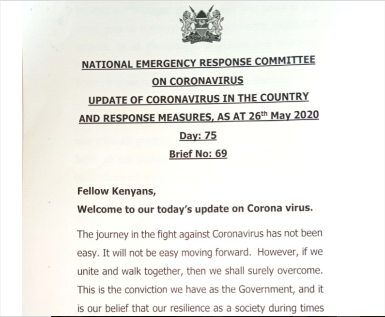 UPDATE OF CORONAVIRUS IN THE COUNTRY AND RESPONSE MEASURES, AS AT 26th May 2020