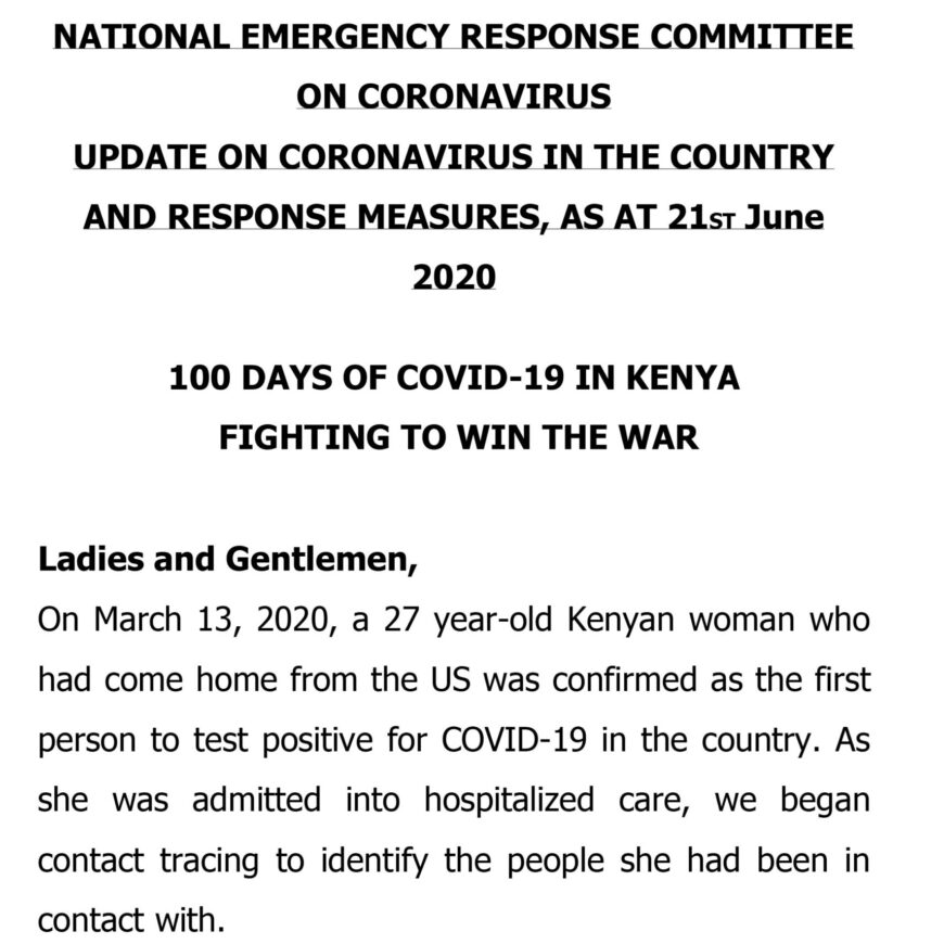 UPDATE OF CORONAVIRUS IN THE COUNTRY AND RESPONSE MEASURES, AS AT 21st June 2020