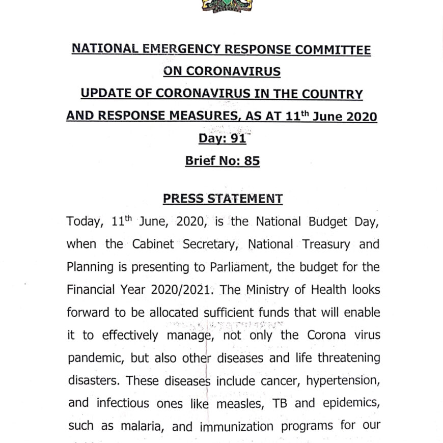 UPDATE OF CORONAVIRUS IN THE COUNTRY AND RESPONSE MEASURES, AS AT 11th June 2020
