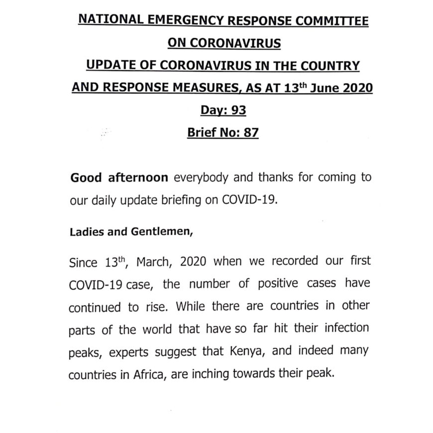 UPDATE OF CORONAVIRUS IN THE COUNTRY AND RESPONSE MEASURES, AS AT 13th June 2020