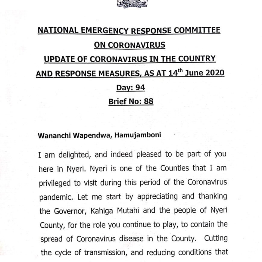 UPDATE OF CORONAVIRUS IN THE COUNTRY AND RESPONSE MEASURES, AS AT 14th June 2020