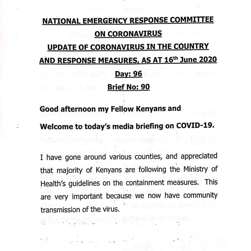 UPDATE OF CORONAVIRUS IN THE COUNTRY AND RESPONSE MEASURES, AS AT 16th June 2020