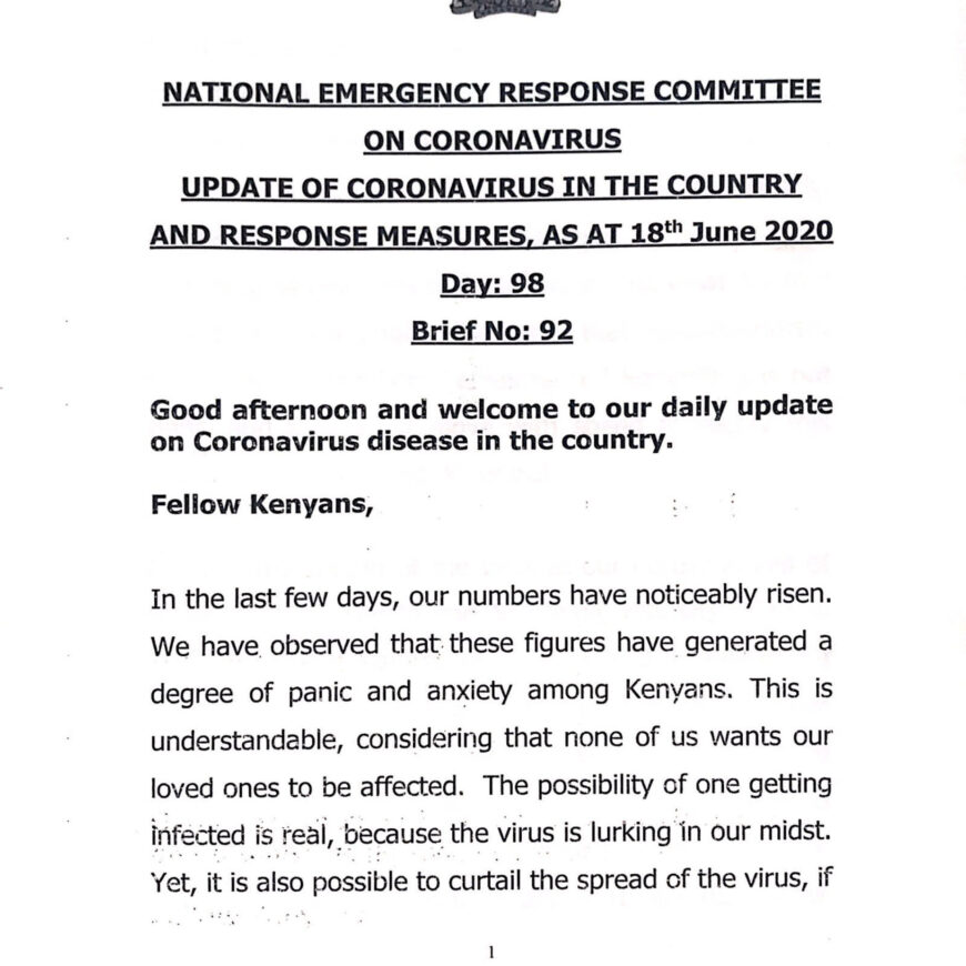 UPDATE OF CORONAVIRUS IN THE COUNTRY AND RESPONSE MEASURES, AS AT 18th June 2020