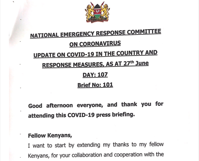 UPDATE OF CORONAVIRUS IN THE COUNTRY AND RESPONSE MEASURES, AS AT 27th June 2020