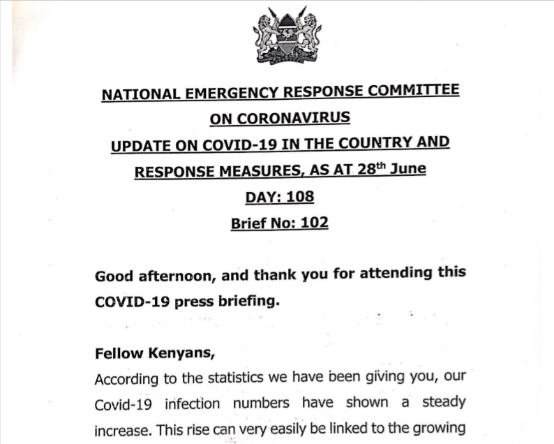 UPDATE OF CORONAVIRUS IN THE COUNTRY AND RESPONSE MEASURES, AS AT 28th June 2020