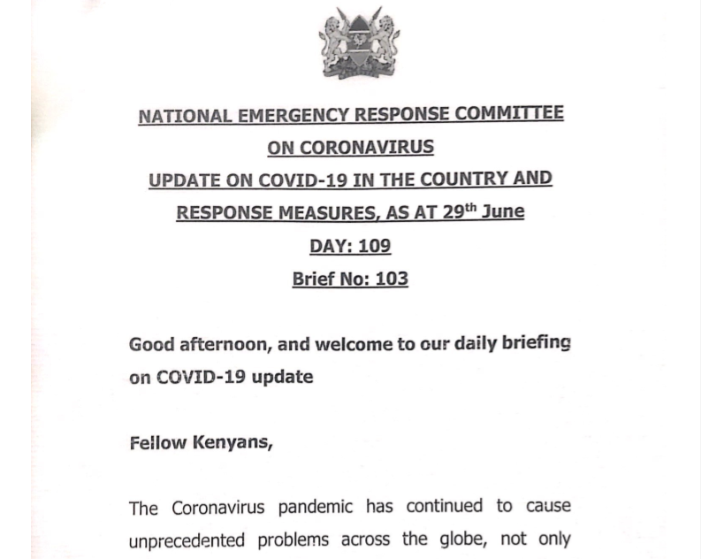 UPDATE OF CORONAVIRUS IN THE COUNTRY AND RESPONSE MEASURES, AS AT 29th June 2020
