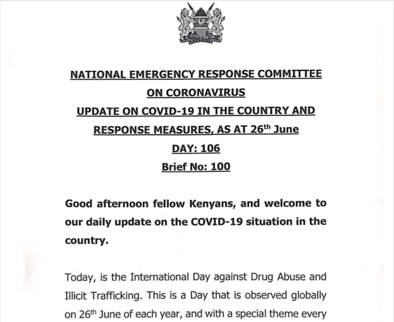 UPDATE OF CORONAVIRUS IN THE COUNTRY AND RESPONSE MEASURES, AS AT 26th June 2020