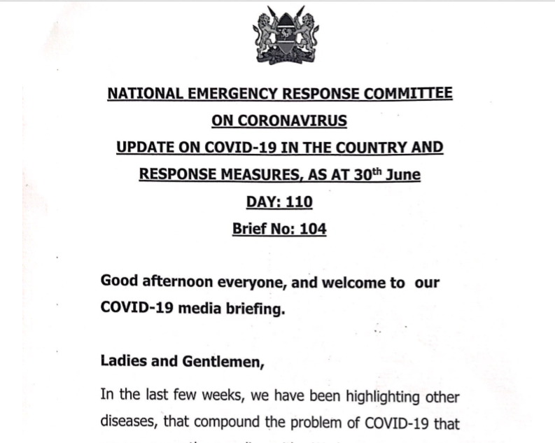 UPDATE OF CORONAVIRUS IN THE COUNTRY AND RESPONSE MEASURES, AS AT 30th June 2020