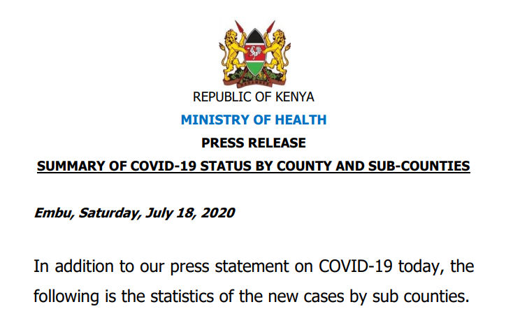 COVID-19 Cases by Sub-Counties as of July 18, 2020