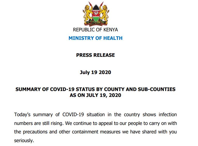 July 19, 2020 Press Release