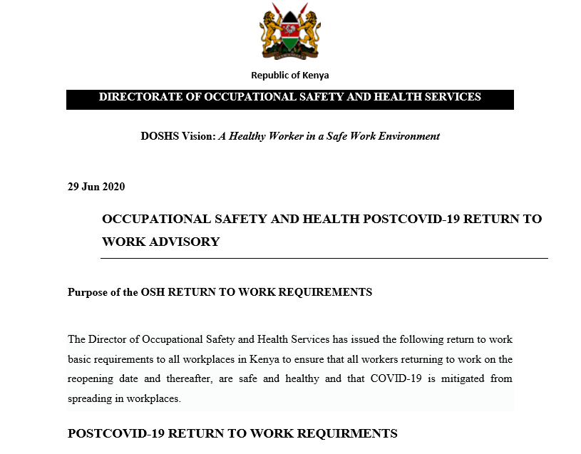 OCCUPATIONAL SAFETY AND HEALTH POSTCOVID-19 RETURN TO WORK ADVISORY